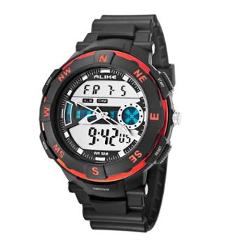 ALIKE户外可旋转运动登山游泳防水石英手表多功能双显男手表腕表