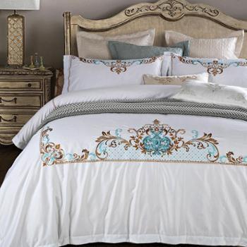 ZERLINDA家居 出口欧式床上用品 美式复古镂空绣花样板间床品套件