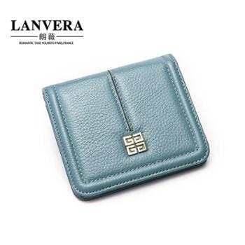 LANVERA朗薇新款韩版真皮钱包女短款女士钱夹头层牛皮零钱包