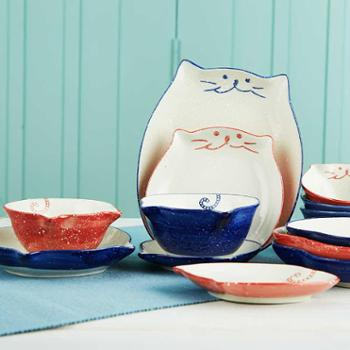日式手绘可爱小萌喵米饭碗碟子盘子创意卡通儿童家用餐具小猫碗