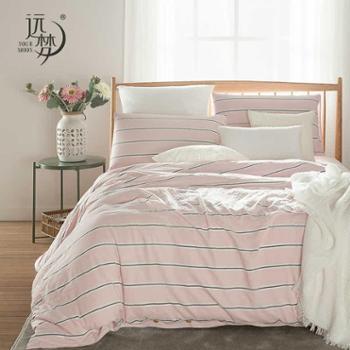 远梦家纺格调吸湿水洗棉四件套纯棉全棉床单被套1.5/1.8m床上用品