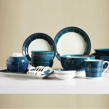 墨蓝系列 日式手绘陶瓷碗餐具碗碟套装碗筷4人家用碗盘礼盒套装厨房用具
