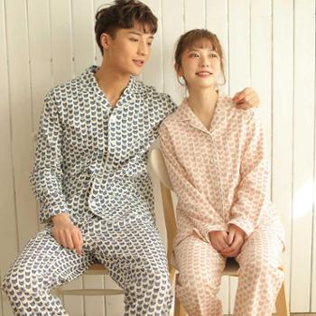 meju新品男款女款睡衣情侣款韩版简约格子睡衣全棉纱布男格子睡衣生活用品