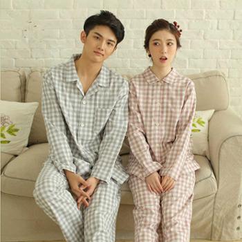 meju春夏新款高档男女情侣家居服全棉纱布格子睡衣女长袖休闲薄款套装
