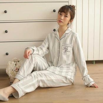 meju条纹长袖长裤套装居家睡衣棉绒布宽松中老年妈妈款日系简约大码