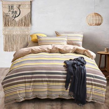 远梦套件日式水洗纯棉四件套床单款全棉1.5M/1.8M床时尚条纹套件床上用品