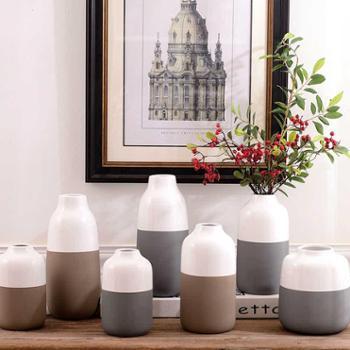 月光走廊挪威冬天白棕灰色北欧风格陶瓷花瓶花器家居装饰