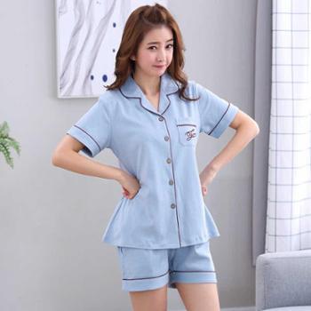短袖睡衣女士夏季韩版少女可爱休闲运动开衫翻领家居服套装