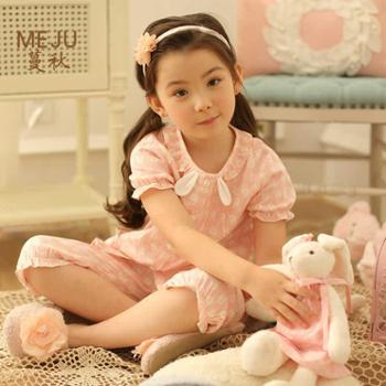 MEJU儿童睡衣女童纯棉动物图案短袖夏季纯棉中大童春夏家居服套装