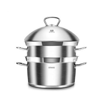 三禾锅具304不锈钢ZGS2800-1双层蒸锅28cm带蒸屉二层蒸笼煎汤蒸三用锅