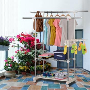 简易不锈钢晾衣架落地晒衣架双杆伸缩简易凉衣架室内