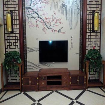 缅甸花梨(大果紫檀)电视柜组合叁件套
