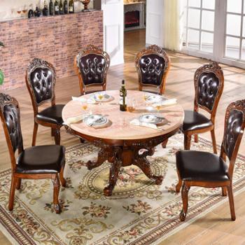 欧式实木雕花圆形餐桌椅组合 一桌六椅 一桌八椅组合T01