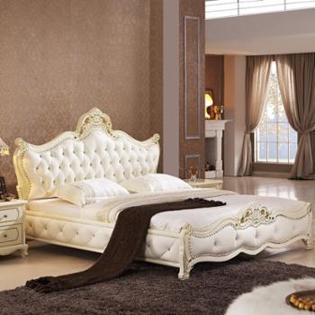 欧式真皮床实木雕花白色双人大床皮艺软床婚床680