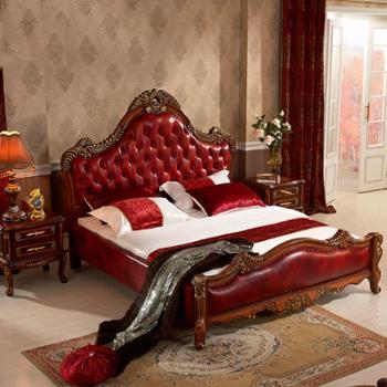 欧式真皮床 大户型美式实木双人床 卧室1.8米欧式实木真皮床L700