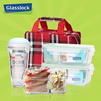 赠便当包Glasslock韩国进口钢化玻璃饭盒微波炉隔层保鲜盒3件套