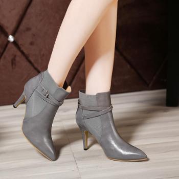 短款马丁靴皮靴女欧洲站高跟踝靴尖头秋冬细跟靴子