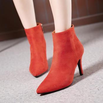 高跟踝靴侧拉链短靴女秋冬细跟女靴尖头小辣椒靴子