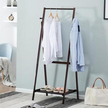 竹居士衣帽架落地实木挂衣架卧室创意折叠简易创意家用落地衣服架