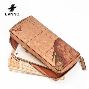 意威诺(evnno)情侣款拉链手包情侣款限量地图款式Q9045-16
