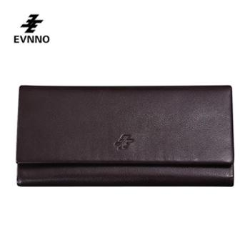 意威诺(evnno)男士多功能三折长款钱包真皮大容量多卡位商务钱包Q0535-A3K
