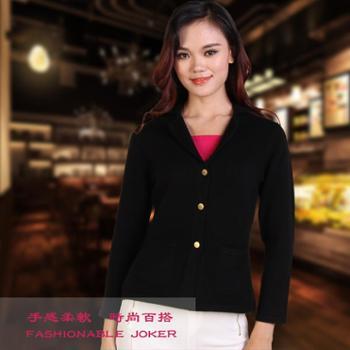 牧园恋人新款时尚修身100%纯羊绒衫小西服领小开衫外套保暖商务口袋三粒扣针织衫短款长袖毛衣包邮