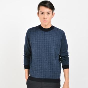 牧园恋人2016新款精纺半高领双提男套衫打底宽松纯羊绒衫正品
