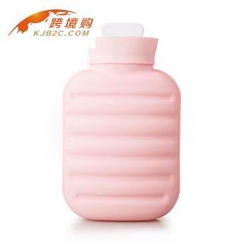 POCATAN硅胶暖手袋粉色1000ML 暖手宝注水防爆暖水袋毛绒布外套 全国包邮