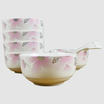 应州正东陶瓷餐具6碗6勺套装12头家用韩碗