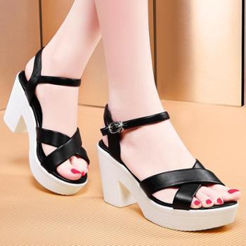 领家天使 厚底防水台凉鞋粗跟高跟鞋女舒适凉鞋女