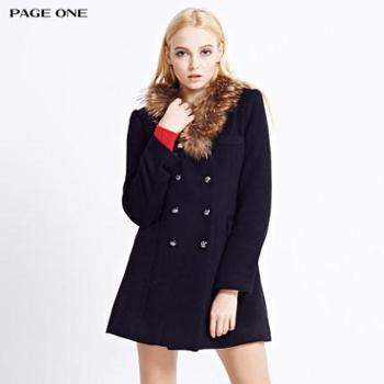 佩吉中长款毛呢外套女修身欧美风潮简约双排扣大衣女纯色