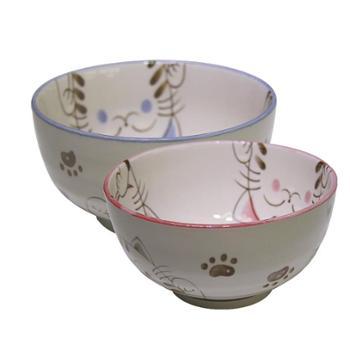 日本进口MORITOKU水晶猫家用陶瓷卡通餐具5.0寸+4.0寸大碗两件组合装
