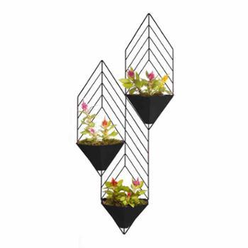北欧创意个性铁艺壁挂吊兰花架客厅壁饰墙上装饰干花花篮绿萝花架