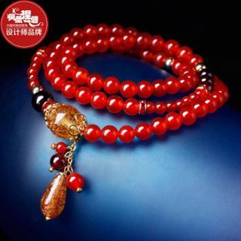 凤凰涅磐天然红玛瑙手链女多层本命羊猴年手串配饰饰品送女友礼物