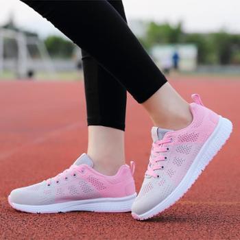 2018新款男女休闲鞋运动鞋透气飞织防滑减震情侣鞋6816