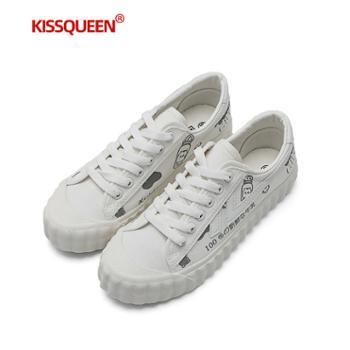 自由绽放KISSQUEEN新款女帆布鞋小白鞋低帮透气柔软舒适女鞋XD813