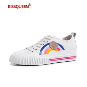 自由绽放KISSQUEEN新款品质女休闲鞋小白鞋透气牛皮舒适平底女鞋3076