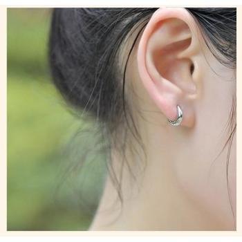 925纯银耳环光面男士女士韩国经典简约时尚个性耳扣饰品