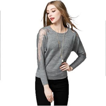 女士蕾丝镂空蝙蝠袖针织衫圆领毛衣春装打底衫女