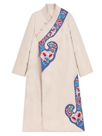 素萝原创 白萍洲 中国风女装冬新款汉元素改良长款刺绣羽绒服