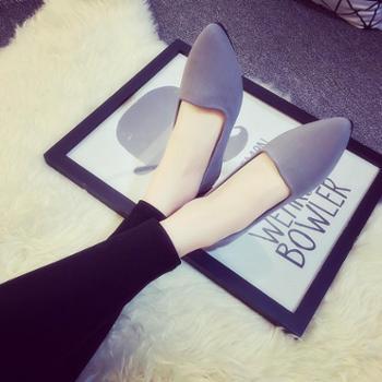 2016春夏季韩版尖头平底单鞋鞋平跟帆布鞋休闲女鞋套脚懒人乐福鞋