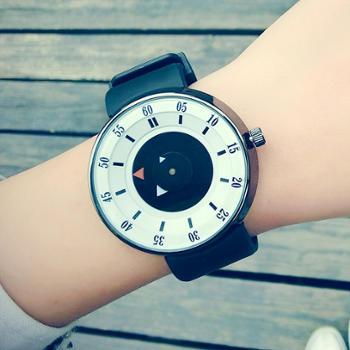 潮流情侣学生手表女韩版一对简约时尚复古男女款硅胶果冻石英腕表