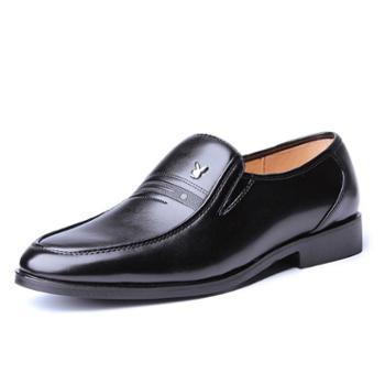 春季新款男士休闲皮鞋男真皮中老年爸爸鞋商务正装中年男鞋子套脚