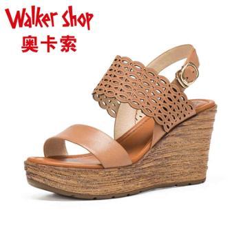 奥卡索FORLERIA 夏季舒适打蜡羊皮女鞋舒适坡跟凉鞋高跟鞋143447