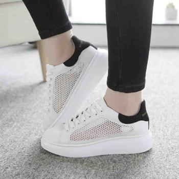 夏季韩版小白鞋女系带百搭透气网鞋厚底网面运动鞋白色休闲鞋女鞋