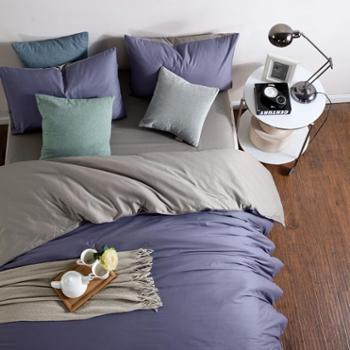 水漾纯色加厚纯棉四件套全棉1.8m简约素色床笠床单被套床上用品冬