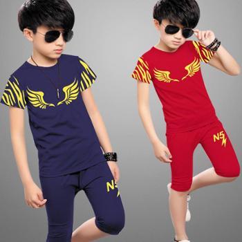 童装男童夏装新款潮儿童夏季套装短袖T恤两件套运动男孩衣服