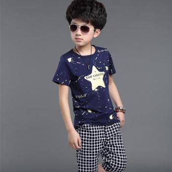 童装男童夏装2016新款 中大童纯棉儿童运动服男套装短袖两件套潮