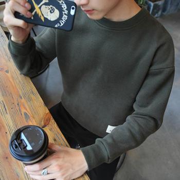 春秋套头卫衣外套新款圆领直筒韩版涤纶常规纯色春季运动青年男JCY12