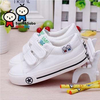 小美和小宝儿童白色帆布鞋男童女童鞋子宝宝休闲布鞋春季新款
